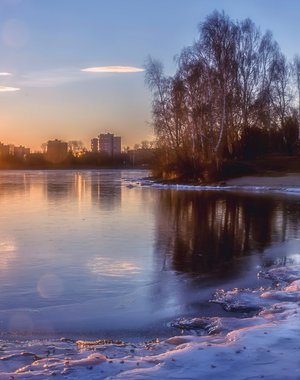 The first ice on the border of winter and autumn