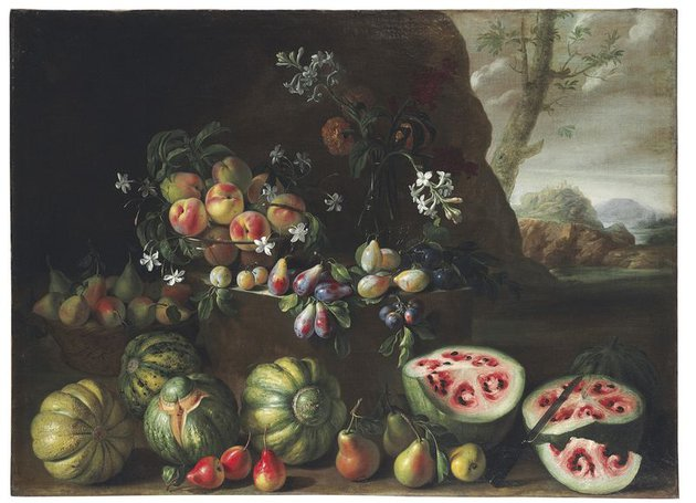 Giovanni_Stanchi,_Watermelons,_Peaches,_Pears,_and_Other_Fruit_in_a_Landscape.jpg