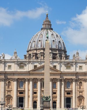 Detail of the dome of St Peter's basilica in Rome.Vatican.