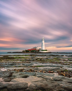 Low tide. Saint Mary's Lighthouse, Whitley Bay, UK