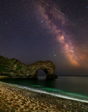 Magic Durdle Door at night, Dorset, UK